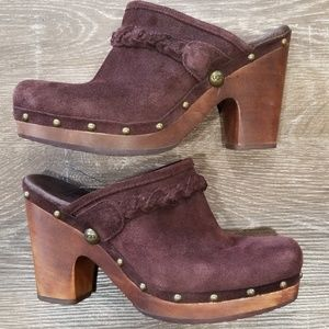 UGG brown suede wooden clogs size 9